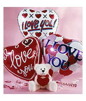 I Love You Teddy Bear & Balloons